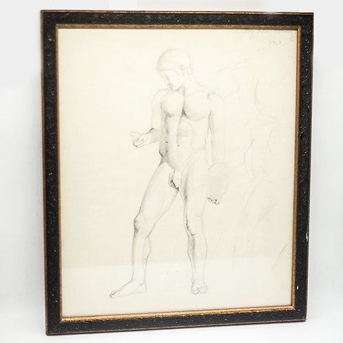 Vintage Pencil Sketch of Nude Male by Mary Milner (Dated: February 1949)