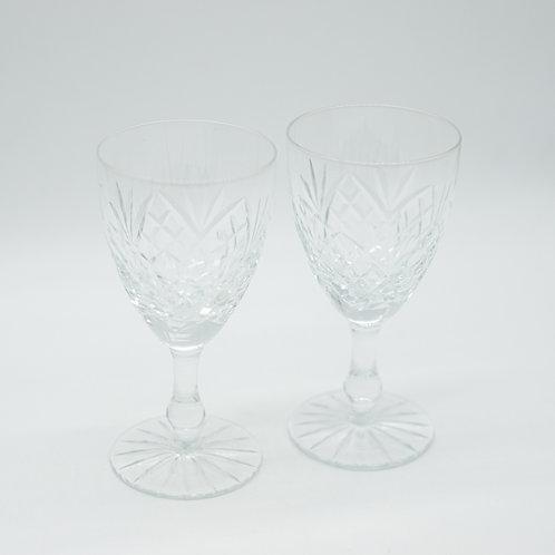 Pair of Vintage Cut Glass Wine Glasses