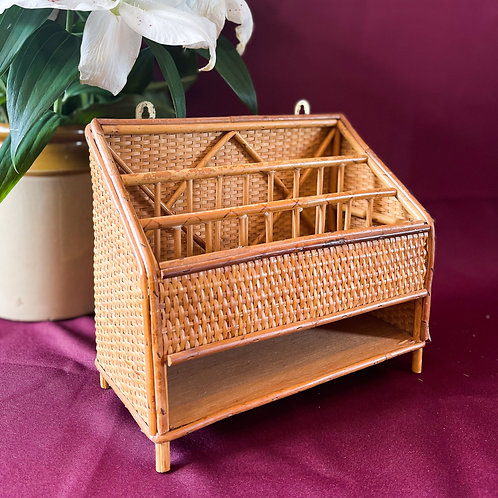Vintage Retro Bamboo & Rattan Wall Mounted Letter Rack