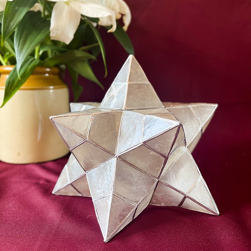 Vintage Mother of Pearl Style Shell & Silver Star Lamp Shade