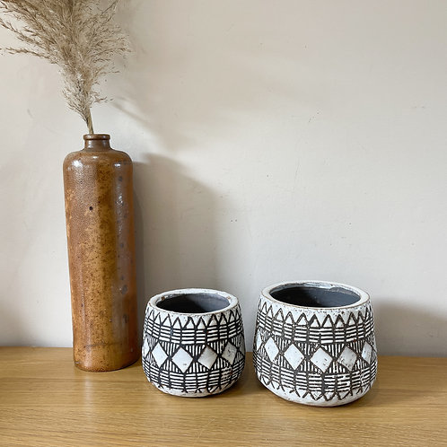 Set of 2 Aztec Glazed Terracotta Planters