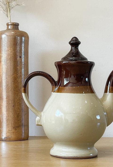 Vintage Glazed Stoneware Coffee Pot