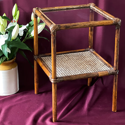 Vintage Rattan & Bamboo Side Table