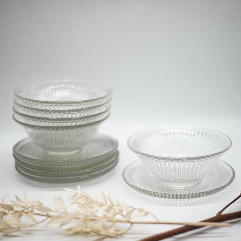 Set of 5 Vintage Ribbed Glass Bowls & Saucers