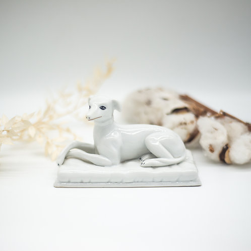 Antique Porcelain Whippet Dog on Cushion (c.1880)