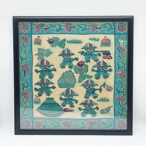 Antique Indonesian Batik Tulis by Rizki in Black Frame with Glass (45 x 45 cm)