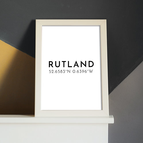 Rutland Coordinates Print (A5 - Unframed)