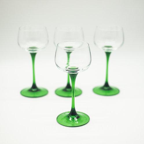 Set of 4 Vintage French Luminarc Wine/Aperitif Emerald Green Stem Glasses