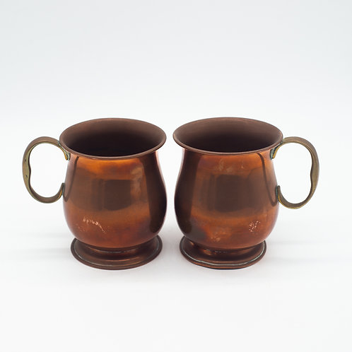 Pair of Vintage Copper & Brass Mule Mugs