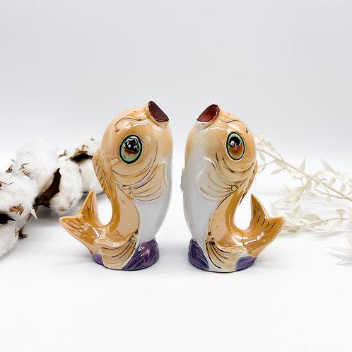 Vintage Lustre Hand Painted Koi Carp Fish Salt & Pepper Pots