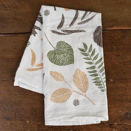 Leaf Pile Flour Sack Tea Towel
