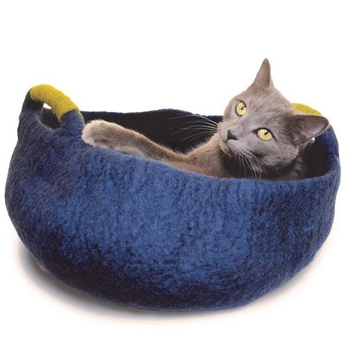 Navy Felt Pet Basket with Handles