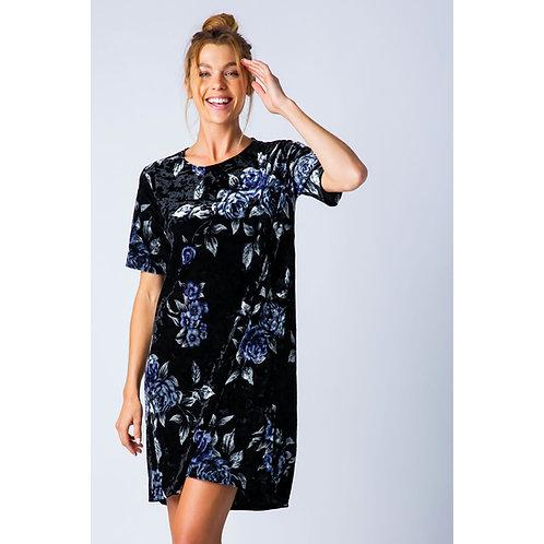 Velvet Floral Print Shirt Dress