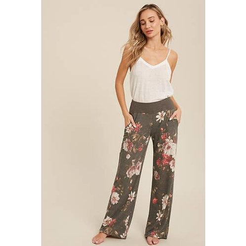 Floral Print Wide Leg Lounge Pants Charcoal