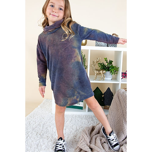 Kids Tie Dye Cowl Neck Dress