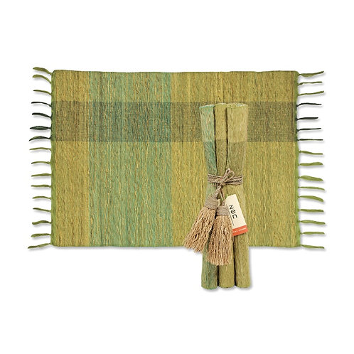 Green Block Vetiver Placemats Set6