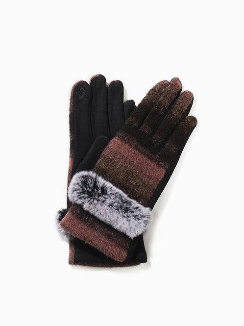 Faux Trim Bushed Color Gloves Pink