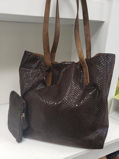 Python Print Tote Handbag Chocolate