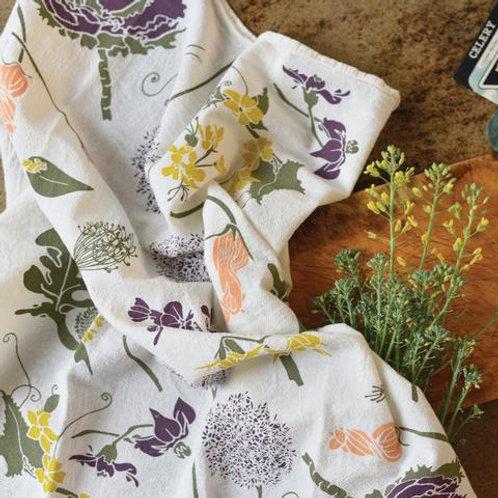 Flour Sack Tea Towel - Flowering Veggies