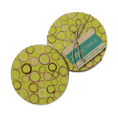 Bamboo Inlay Lime Coasters Set of 4