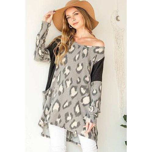 Leopard Print Long Sleeve Tunic Gray