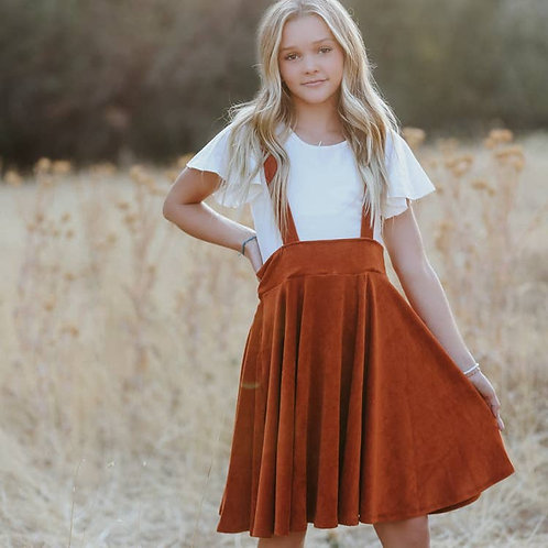 Polly Pinafore Brick Corduroy Jumper Dress