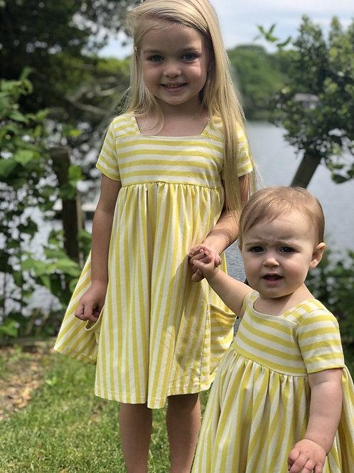 Jersey Stripe Dress Lemon