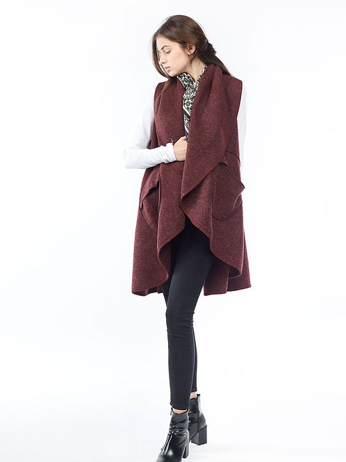 Circle Pocket Shawl Vest - Burgandy