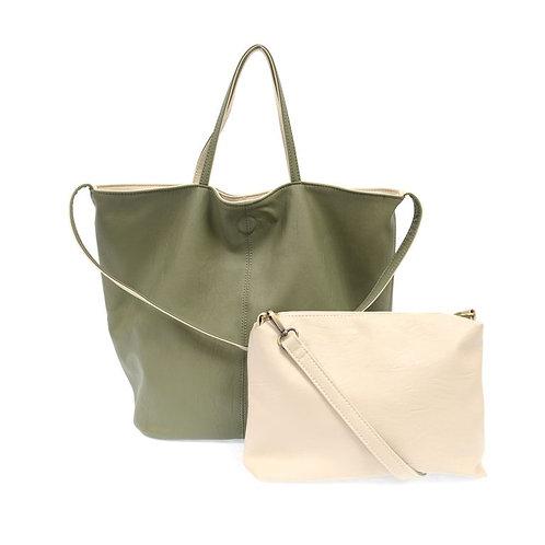Reversible Slouchy Handbag Olive