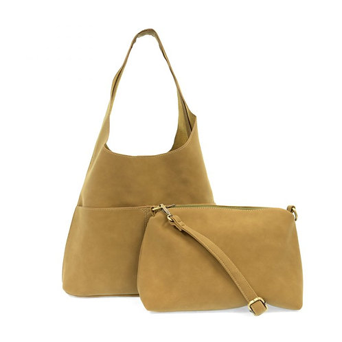 Faux Suede Handbag Khaki