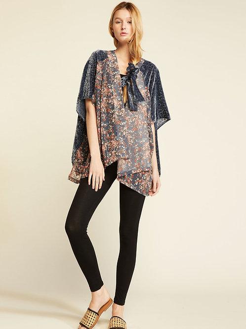 Two Tone Shirred Shoulder Kimono