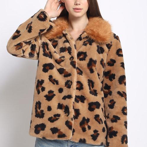 Contrast Collar Faux Fur Jacket