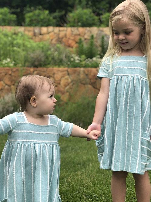 Jersey Stripe Dress Aqua