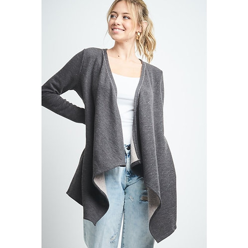 Long Sleeve Solid Cotton French Terry Cardigan