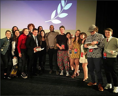 Drew with students at the Harvard Westlake Film Festival