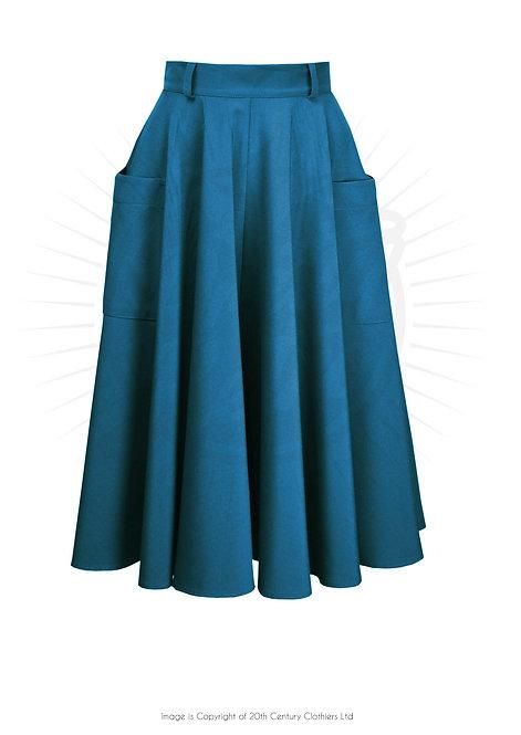 50's Circle Skirt in Petrol Blue