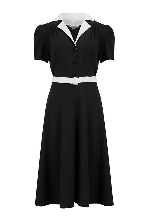 Rock n Romance Lola Shirtwaister Solid black contrast collar