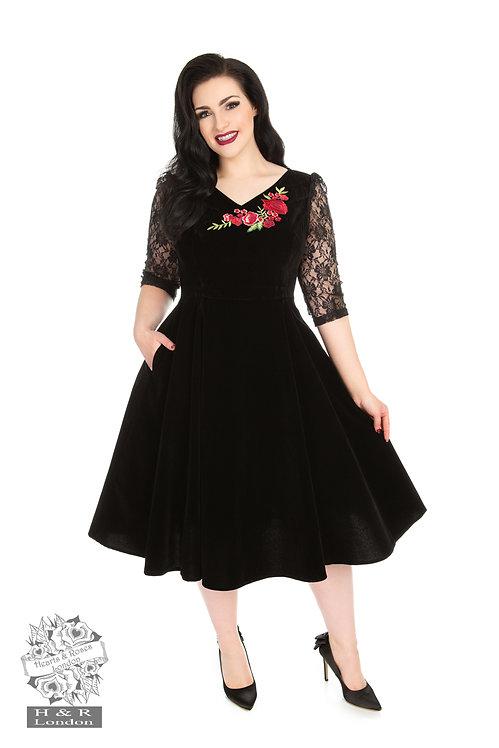 Black Velvet Swing Dress with Rose Detail