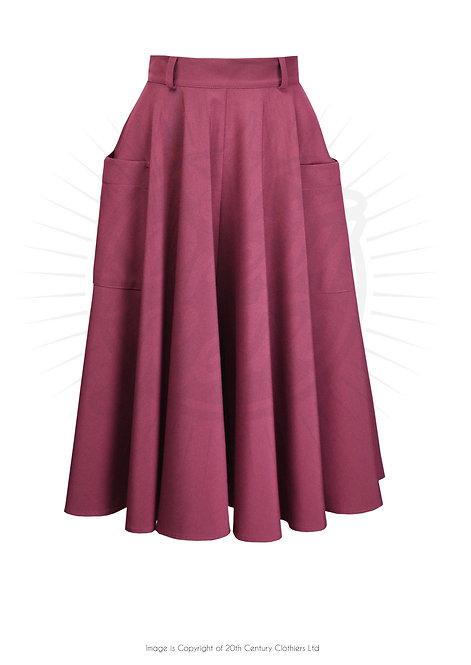 50's Circle Skirt in Dark Rose