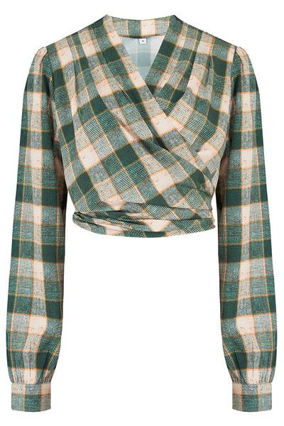 Rock n Romance Darla Wrap Blouse in Green Check
