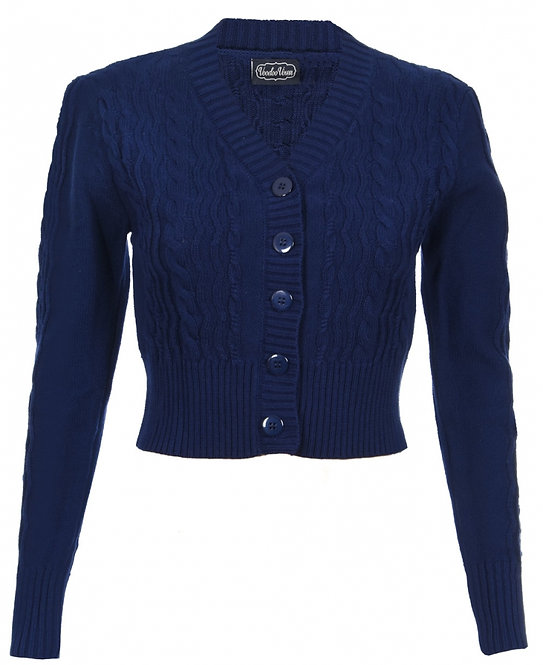 Navy Cable Cardigan