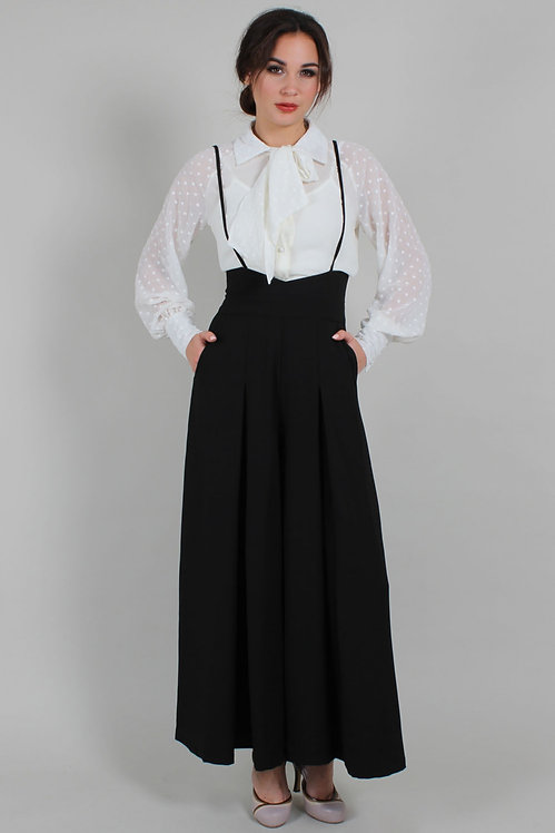 High Waisted Suspender Trousers in Black