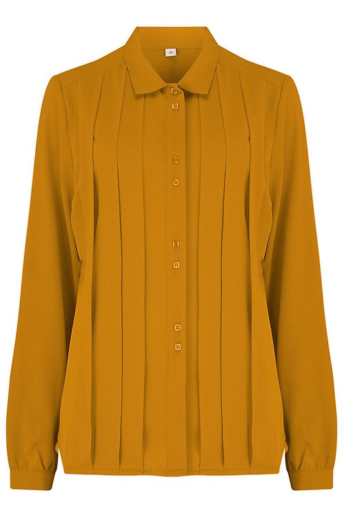 Lydia Pleated Blouse in Mustard