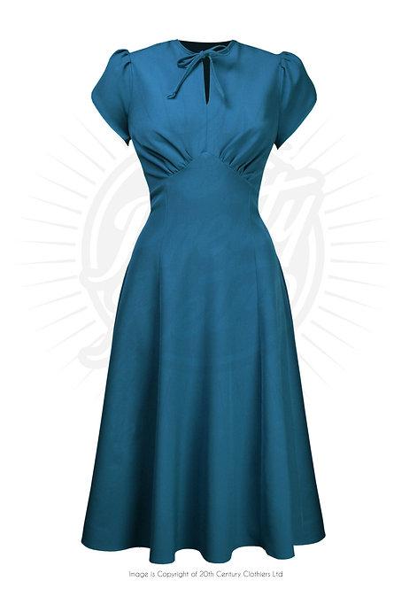Pretty 40's Starlet Dress in Petrol Blue