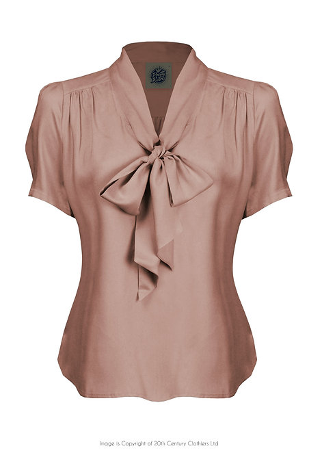 Pussy Bow Blouse in Blush Pink