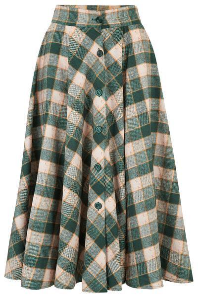 Beverley Skirt in Green Check