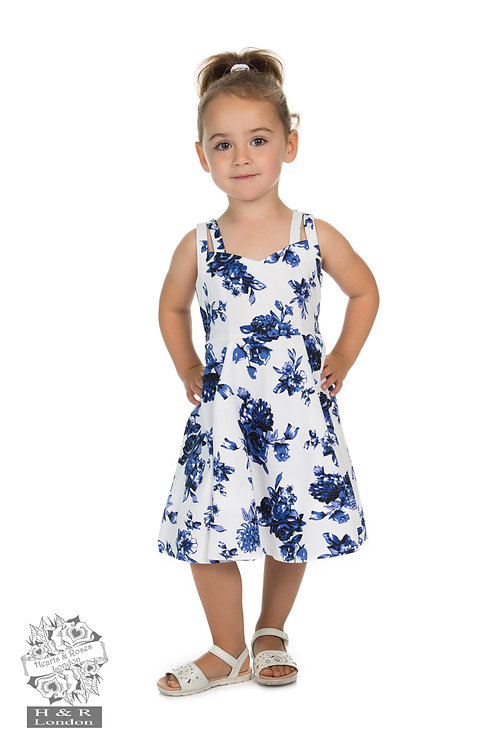 Blue Rosacea Swing Dress