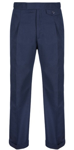 Revival 40's Fishtail Trousers - Navy