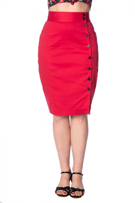 Red Pencil Skirt with Side Button Detail