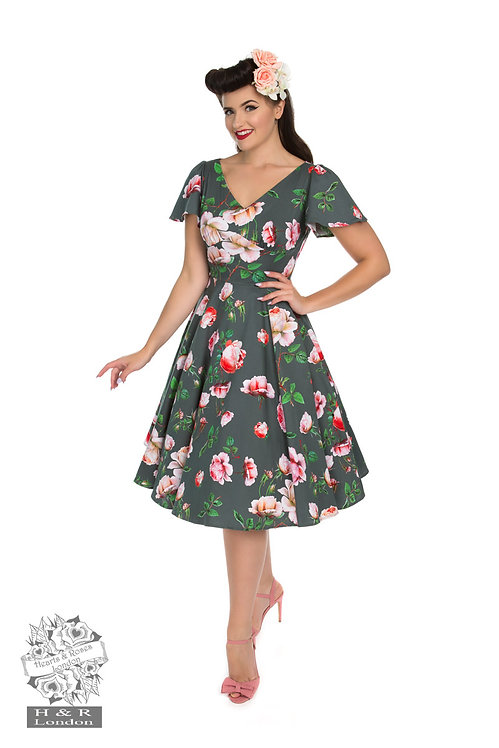 Grey Floral Swing Dress
